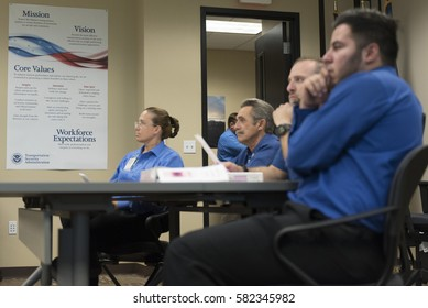 Transportation Security Administration screener trainees attend a TSA training session at TSA's office in Las Vegas Monday, June 6, 2016.