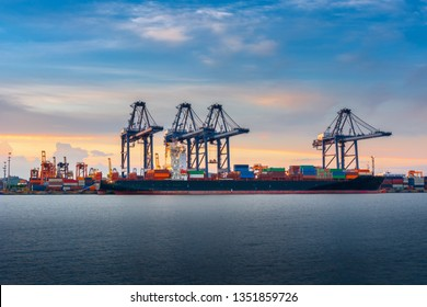 Transportation and Shipping Logistics Loading Dock Terminal., Container Import and Export of Sea Freight Transport Industrial., Landscape of Port Maritime and Harbor Cargo Shipyard With Crane Bridge.
