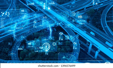 Transportation and technology concept. ITS (Intelligent Transport Systems).