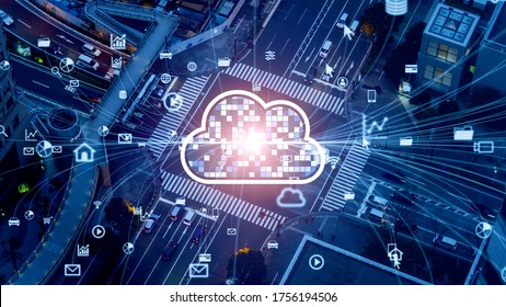 Transportation and technology concept. ITS (Intelligent Transport Systems). Cloud computing.
