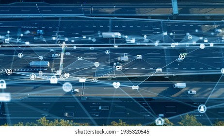 Transportation and technology concept. ITS (Intelligent Transport Systems). Mobility as a service. Telematics.