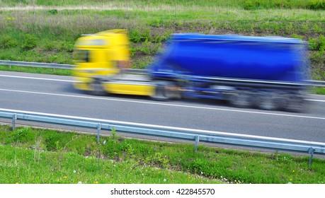 Transportation transport truck tank cistern blur