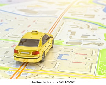 Transportation and travel concept: yellow taxi car on city map, 3d illustration