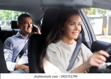 transportation, vehicle and people concept - happy smiling male passenger calling on phone in taxi car