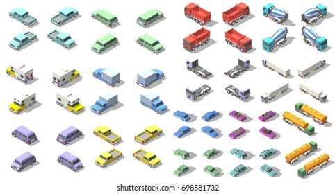 transports set isometric icon graphic illustration design. infographic elements