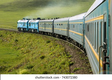 Transsiberian Railway crossing through Mongolia.