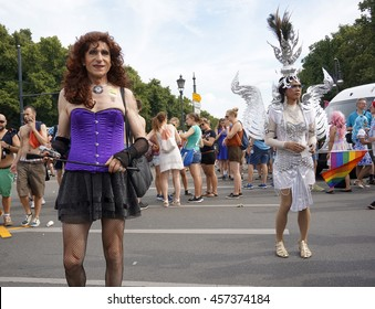 Transvestites at the Christopher Street Day in Berlin July 23, 2016