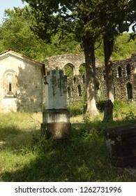 Transylvania, Romania / Romania - April 2016: Chapel and cemetery in Transylvania