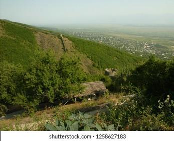 Transylvania, Romania / Romania - April 2016: Village on a hill in Transylvania