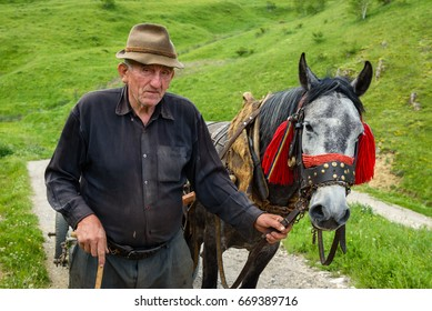 TRANSYLVANIA, ROMANIA - MAY 30, 2017: Old Romanian man with hat walking next to traditional horse carriage on steep mountain trail near Sibiu and Brasov on May 30th, 2017 in Transylvania, Romania.