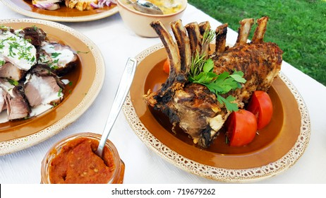Transylvanian pork and vegetables food buffet