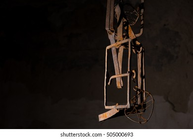 Trap hanging in basement in a Halloween horror concept