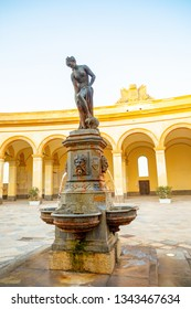 Trapani, Italy - 8.02.2019: Fountain with Venus statue at fish market in Trapani in Sicily, Italy