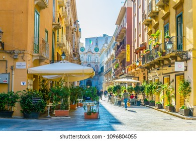 TRAPANI, ITALY, APRIL 21, 2017: View of the corso Vittorio Emanuele in Trapani, Sicily, Italy
