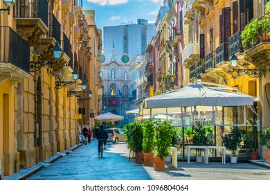 TRAPANI, ITALY, APRIL 21, 2017: View of the corso Vittorio Emanuele in Trapani, Sicily, Italy