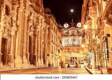 Trapani main street at night, Sicily.