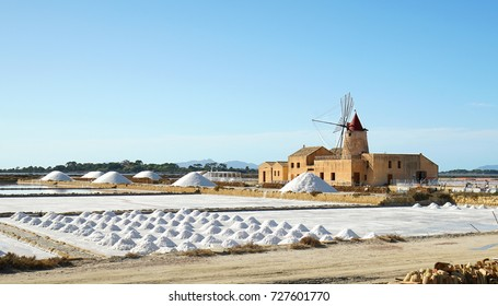 Trapani, Sicily, Italy - Old windmill and salt-work