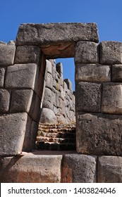 Trapezoidal portal in the ruins of Sacsayhuaman in Cusco-PERU