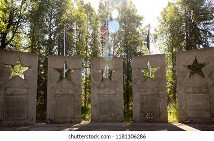 Trapper Creek, Alaska, USA - July 22, 2018: Alaska Veterans Memorial outdoor memorial grove at Byers Lake in Denali State Park, between Anchorage and Fairbanks, in summertime.