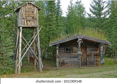 Trapper's cabin and food cache, Alaska