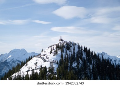 A trapper's cabin at the peak of a mountain in Banff national Park
