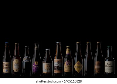 trappist beer bottles isolated use editorial only