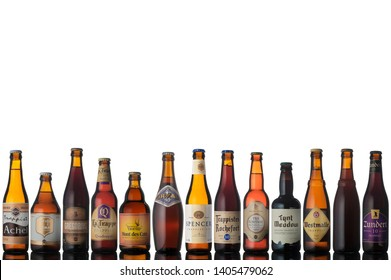 "trappist beer bottles isolated white background ""use editorial only"""