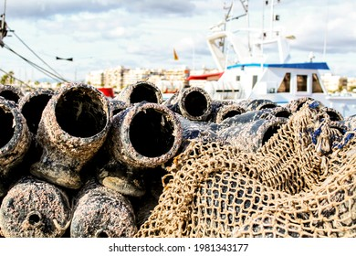 Traps for fish octopus and nets in the pier of Santa Pola, Alicante, Spain