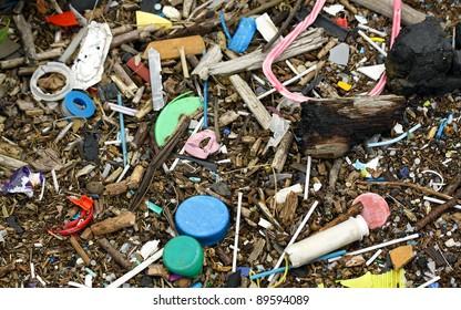 Trash along the river Thames