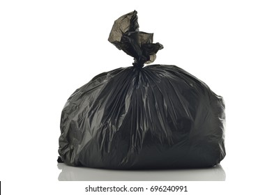 Trash Bag on White Background Shot in Studio