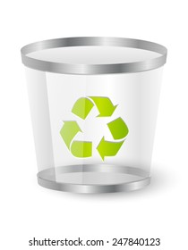 Trash basket with recycling symbol