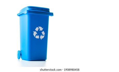 Trash bin. Blue dustbin for recycle paper trash isolated on white background. Container for disposal garbage waste and save environment
