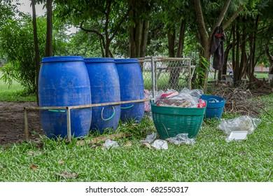trash bin near the beach in Thailand