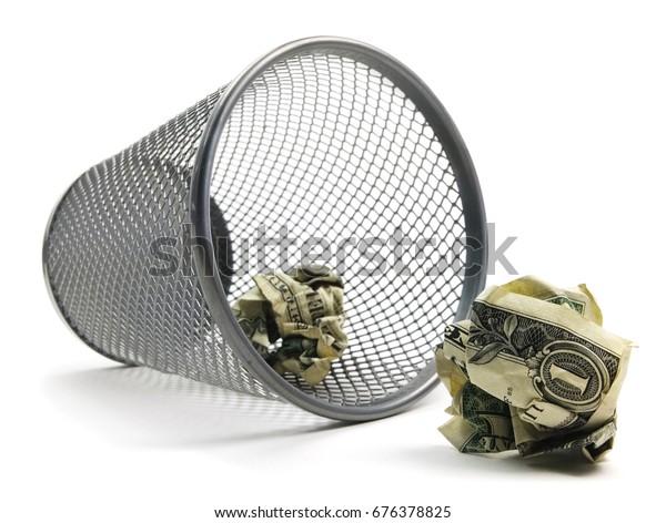 Trash Can Bin With Cash.