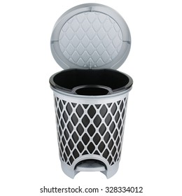Trash can made of gray plastic with gray lid open