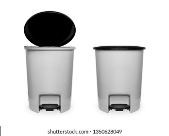 Trash Can with Plastic Black Isolated on white Background with Clipping Path. Beautiful Grey Empty Refuse Bin (Garbage Can) for Clean. Two Plastic Trash Cans or Bin Black and Gray One Open, One Closed