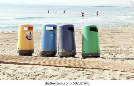 trash cans on the beach