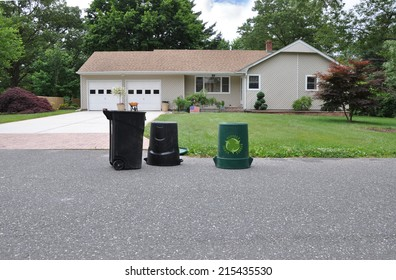 Trash Day Recycle Container Suburban Home Residential Neighborhood USA
