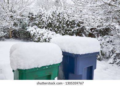 Trash (green) and recycling (blue) bins outside a suburban home in a snowstorm