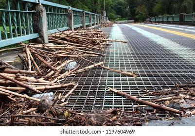 Trash Left On A Bridge After Flooding