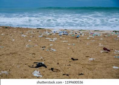 Trash on the beach, Ada Foah, Volta Region, Ghana.