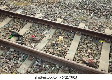 trash on railway track
