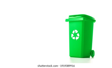 Trash recycle. Bin container for disposal garbage waste and save environment. Green dustbin for recycle glass can trash isolated on white background