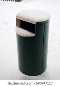 Trash in the snow
