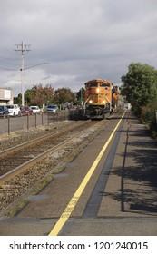 Trash train passing through Edmunds, Washington, U.S.A. on October 7, 2018