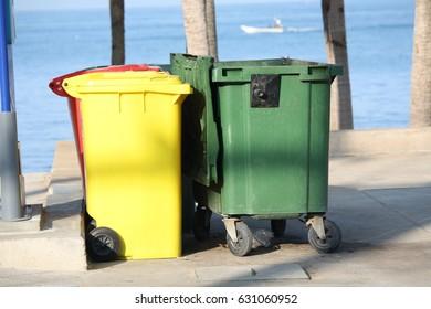 trashcan  on the beach