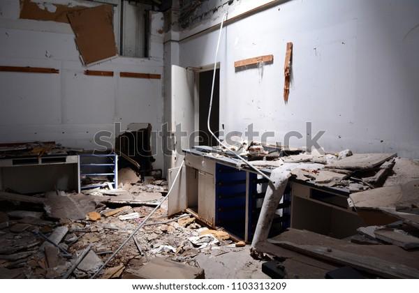 Trashed Lab in Abandoned Hospital Building