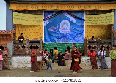 Trashigang, Bhutan - July, 7, 2015: Monk ritual in Trashigang dzong. Ceremony take place in the courtyard.