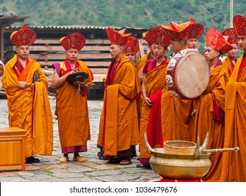 Trashigang, Bhutan - October, 22, 2010: Monk ritual in Trashigang dzong. Ceremony take place in the courtyard.