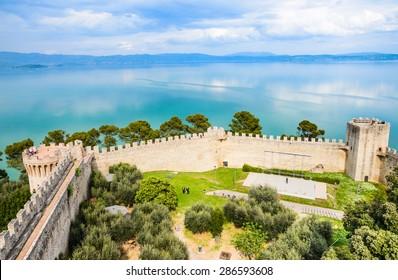 Trasimeno lake panoramic view, Castiglione del lago fortress, Umbria, Italy